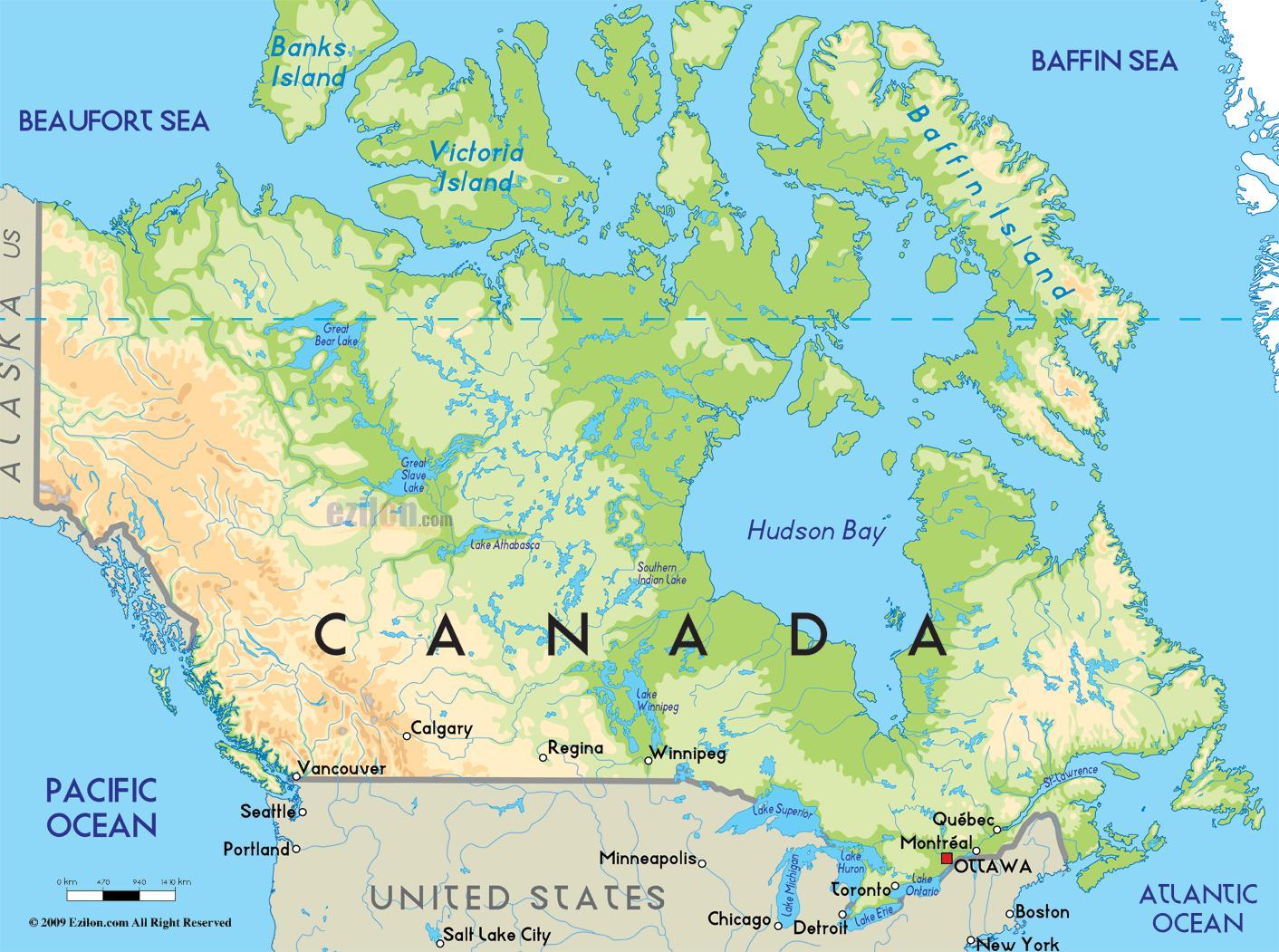 Canada Geografi Kort Kort Over Canada Geografi Det Nordlige