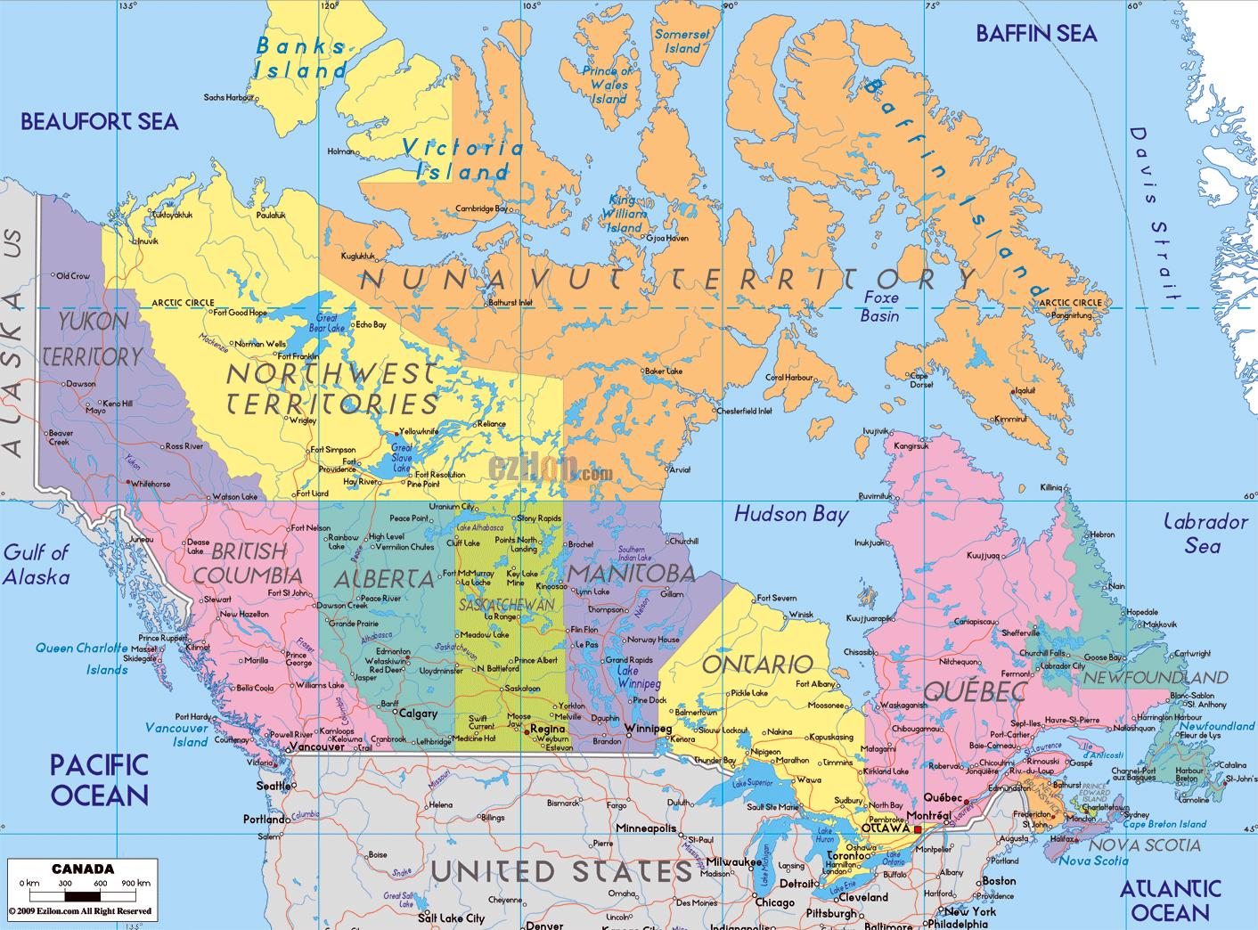 Canada Kort Med Bynavne Detaljeret Kort Over Canada Med Byer