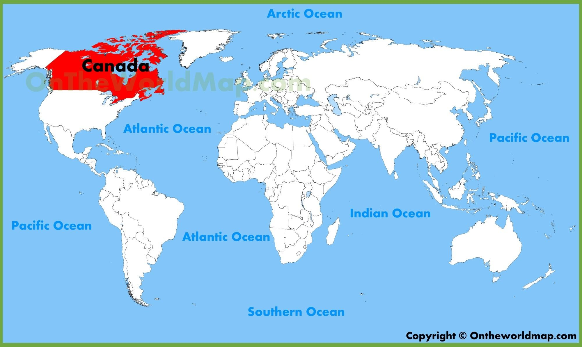 Canada Kort Placering Canada Word Kort Nord Amerika Nord Og