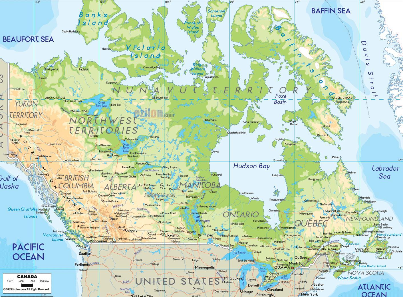 kort over canada