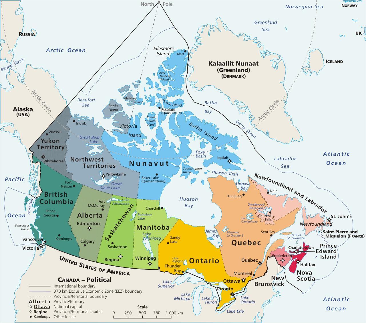 Koloreret Kort Over Canada Farvet Kort Over Canada Med Provinser