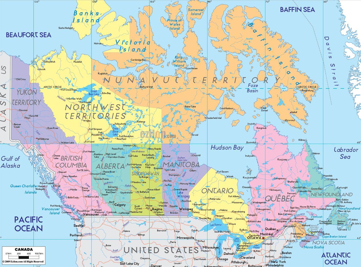 Kort Over Det Ostlige Canada Detaljeret Kort Over Det Ostlige