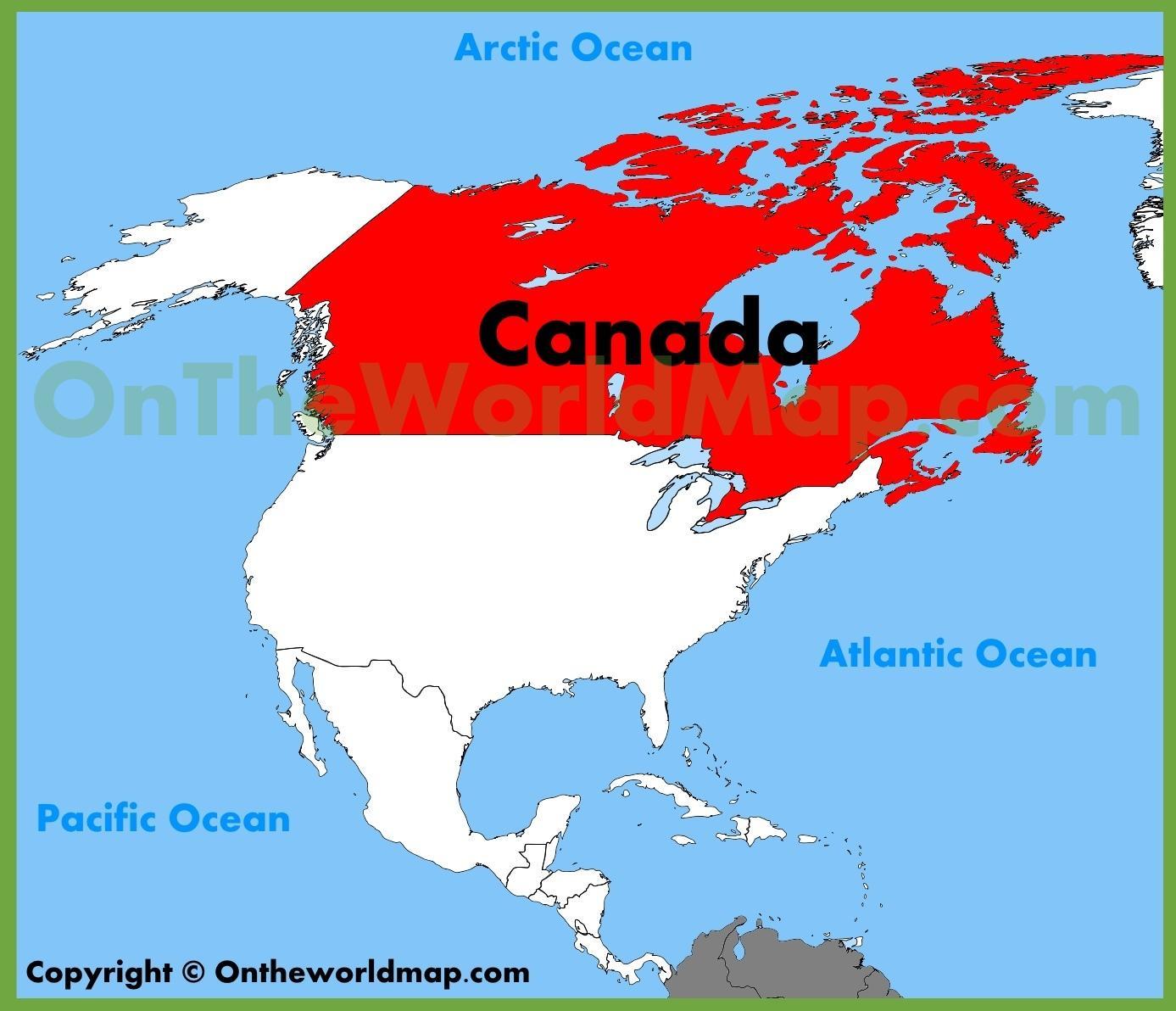 Nordamerika Canada Kort Kort Over Nordamerika Og Canada