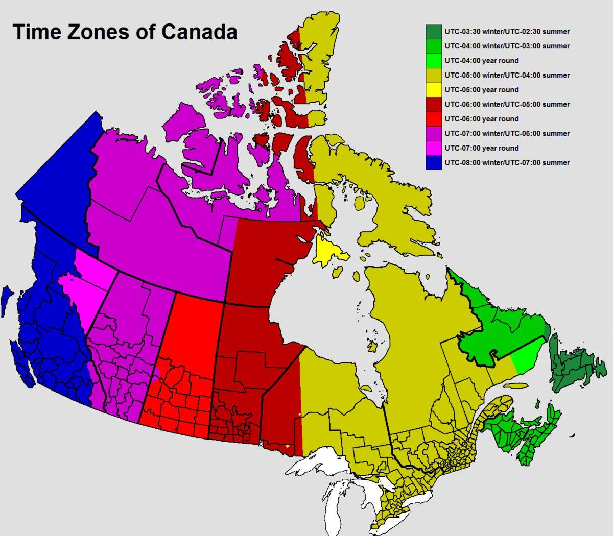 Canada Tidszone Kort Kort Over Canada Tidszone Det Nordlige