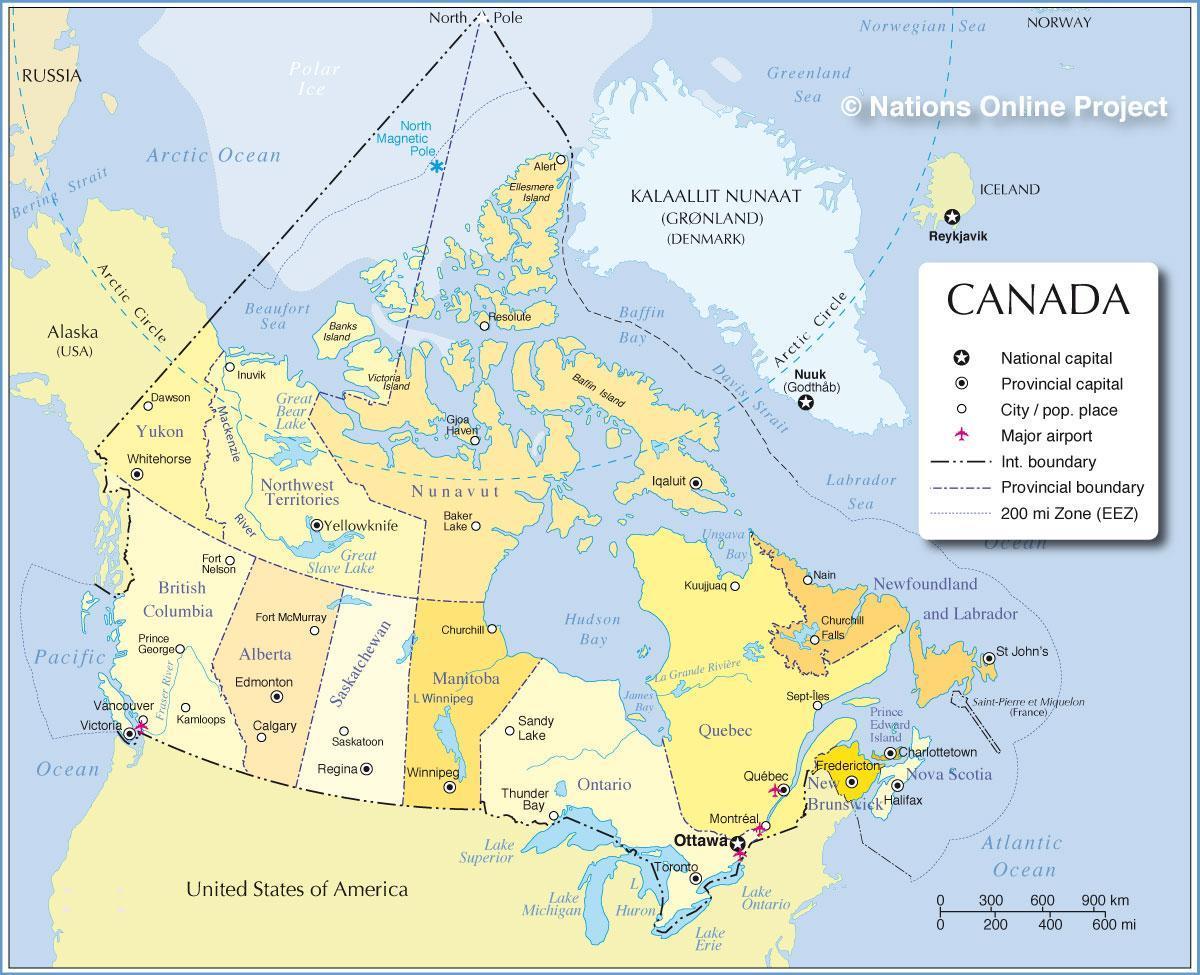 Kort Over Canada Byer Og Provinser Kort Over Canada Byer Og
