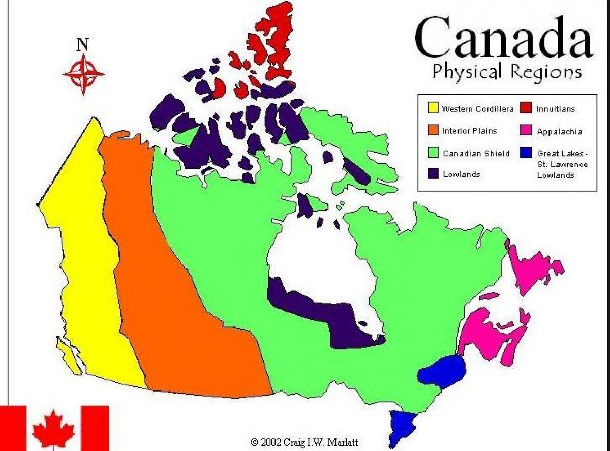 Landskabsform Regioner I Canada Kort Kort Over Canada