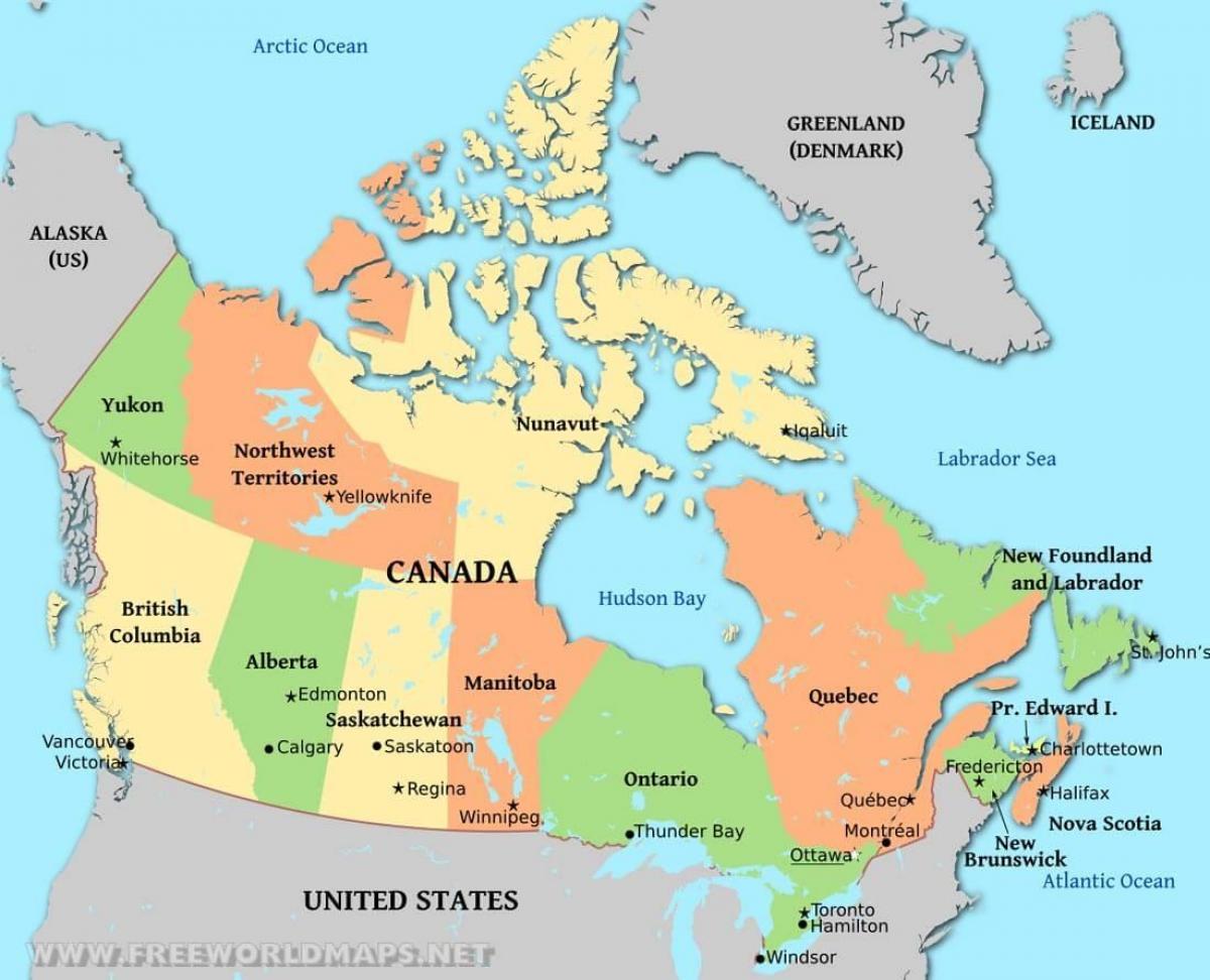 Politisk Kort Over Canada Et Politisk Kort Over Canada Nordlige
