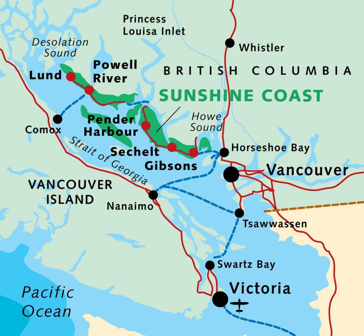 Sunshine Coast Canada Kort Kort Over Sunshine Coast Bc Canada